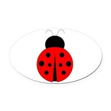 Red and Black Ladybug Oval Car Magnet