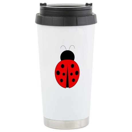 Red and Black Ladybug Stainless Steel Travel Mug