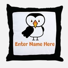 Personalized Puffin Throw Pillow