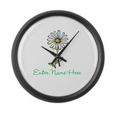 Personalized Daisy Large Wall Clock