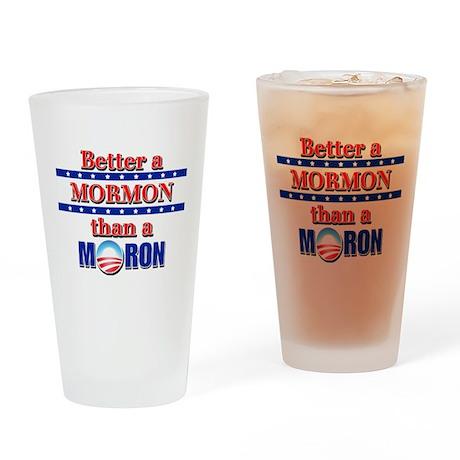 Mormon vs Moron Drinking Glass
