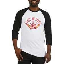 Girl on Fire (curved) WHT Baseball Jersey