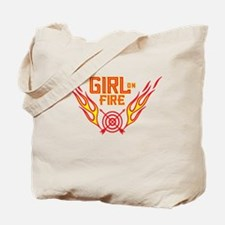 Girl on Fire (horiz) WHT Tote Bag