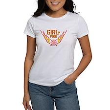 Girl on Fire (horiz) WHT Tee