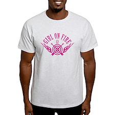 Girl on Fire (pink) WHT T-Shirt