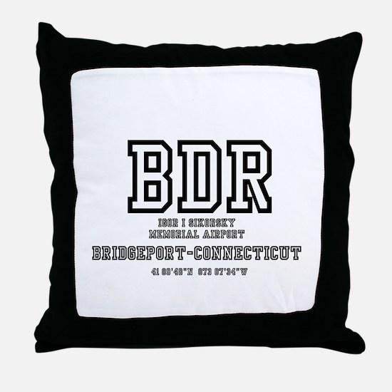 AIRPORT CODES - BDR - SIKORSKY, BRIDG Throw Pillow