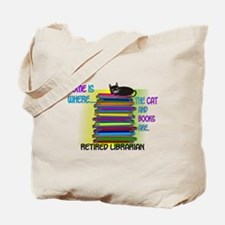 Retired Librarian Home is where Cat books.PNG Tote