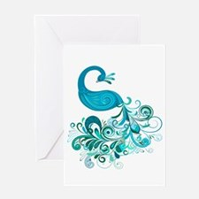 Teal Peacock Greeting Card