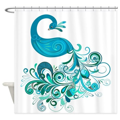 Teal Peacock Shower Curtain By Glamourgirls2