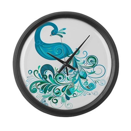 Teal Peacock Large Wall Clock