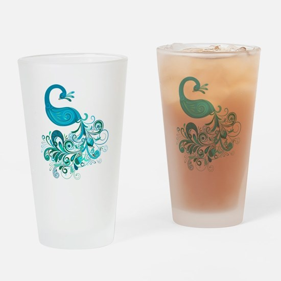 Teal Peacock Drinking Glass