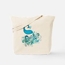 Teal Peacock Tote Bag
