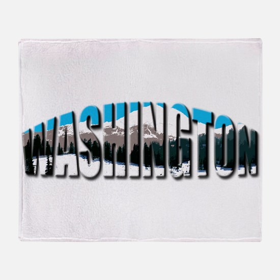 Washington logo clear Rainier Throw Blanket