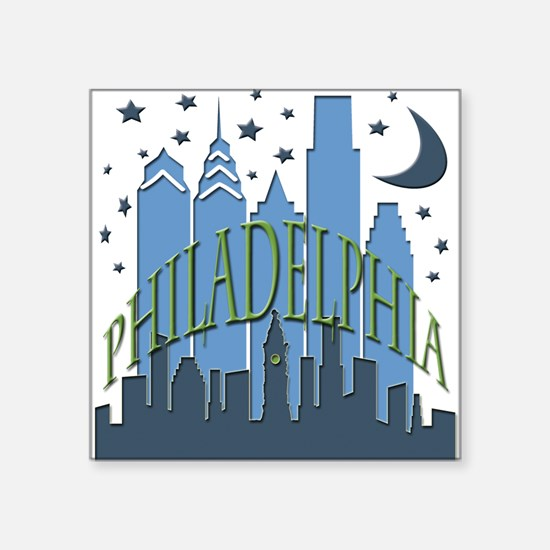 """Philly Skyline cool Square Sticker 3"""" x 3"""""""