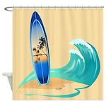 Surfboard Shower Curtain