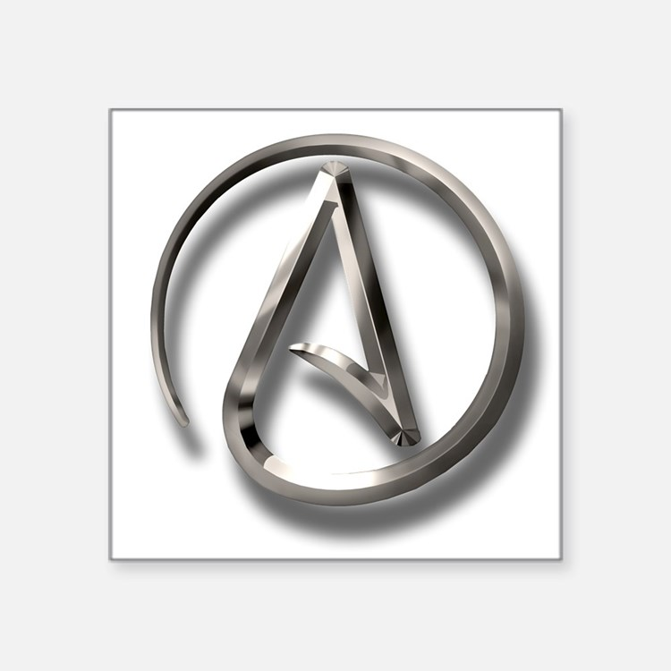 "International Atheism Symbol Square Sticker 3"" x 3"