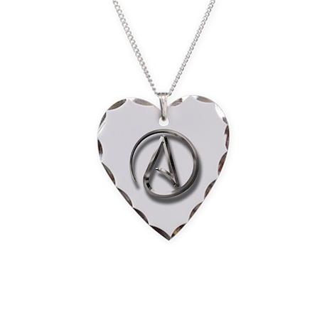 International Atheism Symbol Necklace Heart Charm