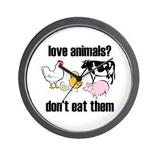 Cute Funny vegetarian Wall Clock