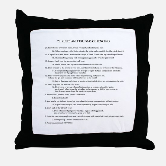 21 Rules & Truisms of Fencing Throw Pillow