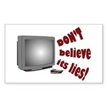 Television Lies anti-TV Rectangle Sticker
