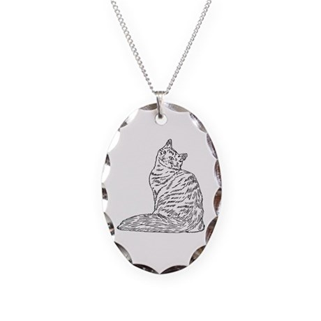SIBERIAN CAT Necklace Oval Charm