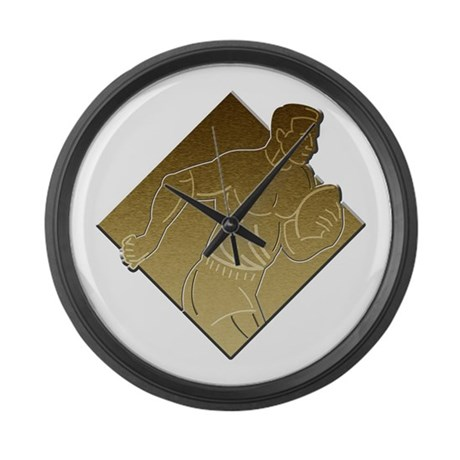 Rugby player metallic gold large wall clock by retrostockart for Large gold wall clocks