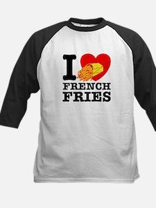 I Love French Fries Kids Baseball Jersey