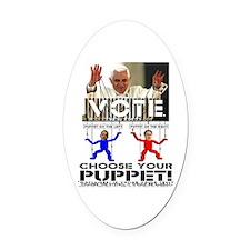 Vatican Puppets Romney vs Obama Oval Car Magnet