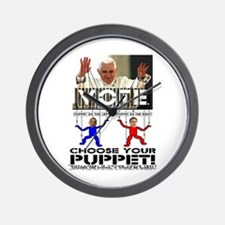 Vatican Puppets Romney vs Obama Wall Clock