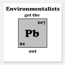 """Environmentalist Square Car Magnet 3"""" x 3&quo"""