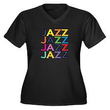 The Jazz Women's Plus Size V-Neck Dark T-Shirt