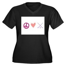 peace love hockey Women's Plus Size V-Neck Dark T-