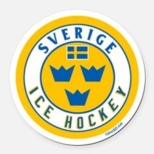 SE Sweden/Sverige Hockey Round Car Magnet