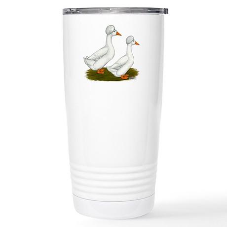 White Crested Ducks Stainless Steel Travel Mug