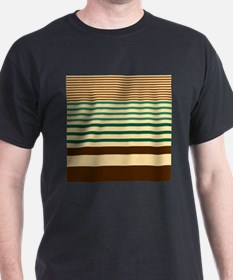 Striped design brown green begie T-Shirt