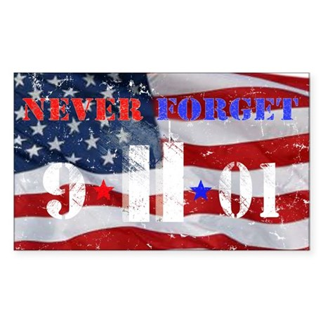 Never Forget 9-11-01 Sticker (Rectangle)