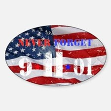Never Forget 9-11-01 Sticker (Oval)