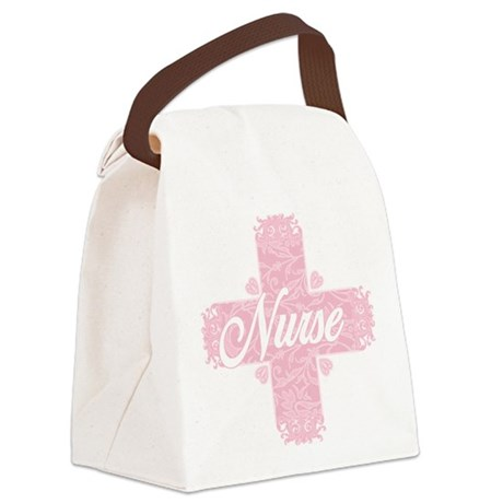 Nurse Pink Lacy Cross Canvas Lunch Bag