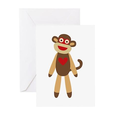 Cute Sock Monkey Greeting Card