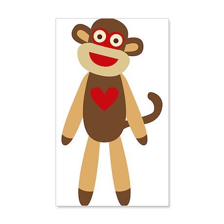 Cute Sock Monkey 35x21 Wall Decal