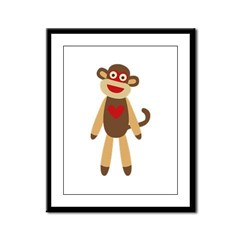 Cute Sock Monkey Framed Panel Print