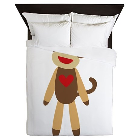 Cute Sock Monkey Queen Duvet