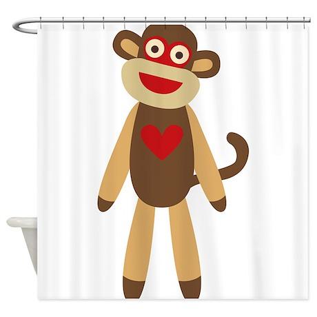 Cute Sock Monkey Shower Curtain