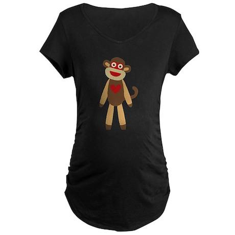 Cute Sock Monkey Maternity Dark T-Shirt