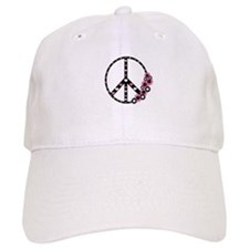 Peace Sign with Hearts and Flowers Baseball Cap