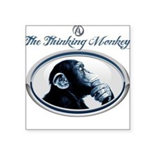 "The Thinking Monkey Square Sticker 3"" x 3"""
