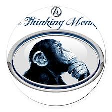 The Thinking Monkey Round Car Magnet