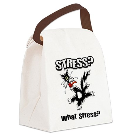 FIN-stress-cat... Canvas Lunch Bag
