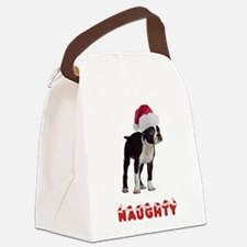 Naughty Boston Terrier Canvas Lunch Bag