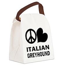 Peace Love Italian Greyhound Canvas Lunch Bag